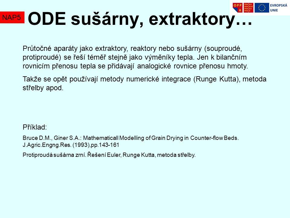 NAP5 ODE sušárny, extraktory… Průtočné aparáty jako extraktory, reaktory nebo sušárny (souproudé, protiproudé) se řeší téměř stejně jako výměníky tepla.