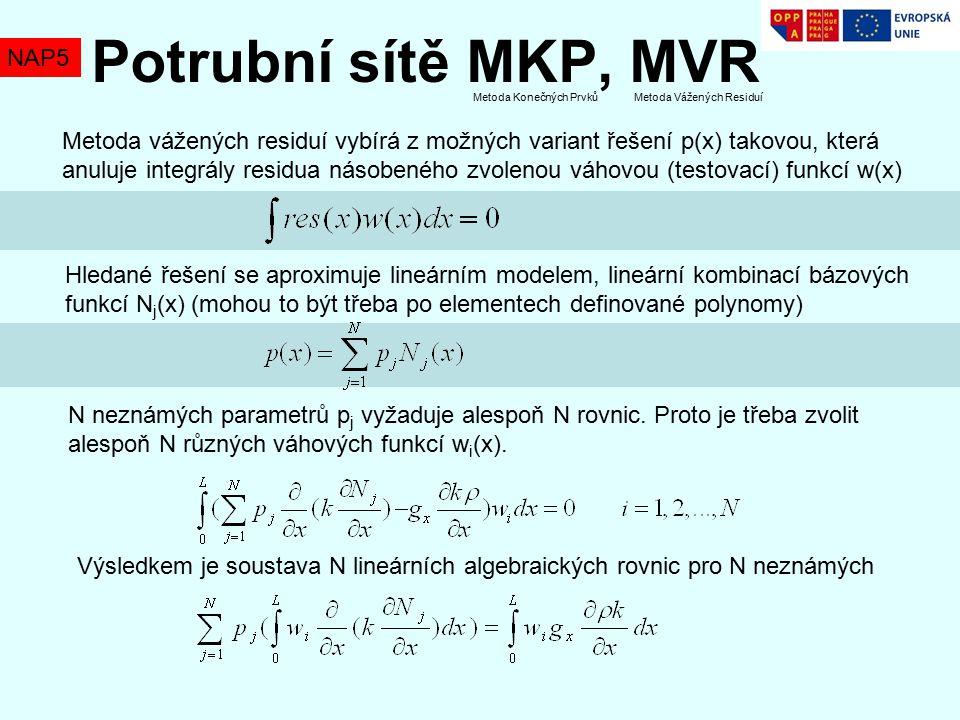 NAP5 Potrubní sítě MKP, MVR Metoda vážených residuí vybírá z možných variant řešení p(x) takovou, která anuluje integrály residua násobeného zvolenou váhovou (testovací) funkcí w(x) Hledané řešení se aproximuje lineárním modelem, lineární kombinací bázových funkcí N j (x) (mohou to být třeba po elementech definované polynomy) N neznámých parametrů p j vyžaduje alespoň N rovnic.