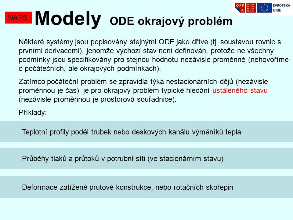 NAP5 Modely ODE okrajový problém Některé systémy jsou popisovány stejnými ODE jako dříve (tj.