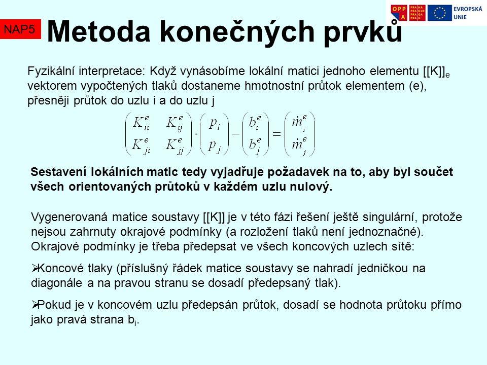 NAP5 Metoda konečných prvků Fyzikální interpretace: Když vynásobíme lokální matici jednoho elementu [[K]] e vektorem vypočtených tlaků dostaneme hmotnostní průtok elementem (e), přesněji průtok do uzlu i a do uzlu j Sestavení lokálních matic tedy vyjadřuje požadavek na to, aby byl součet všech orientovaných průtoků v každém uzlu nulový.