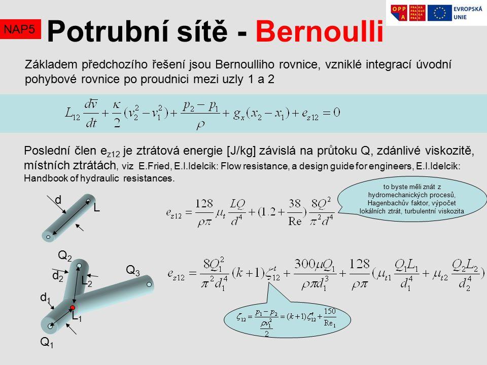 NAP5 Základem předchozího řešení jsou Bernoulliho rovnice, vzniklé integrací úvodní pohybové rovnice po proudnici mezi uzly 1 a 2 Potrubní sítě - Bernoulli Poslední člen e z12 je ztrátová energie [J/kg] závislá na průtoku Q, zdánlivé viskozitě, místních ztrátách, viz E.Fried, E.I.Idelcik: Flow resistance, a design guide for engineers, E.I.Idelcik: Handbook of hydraulic resistances.