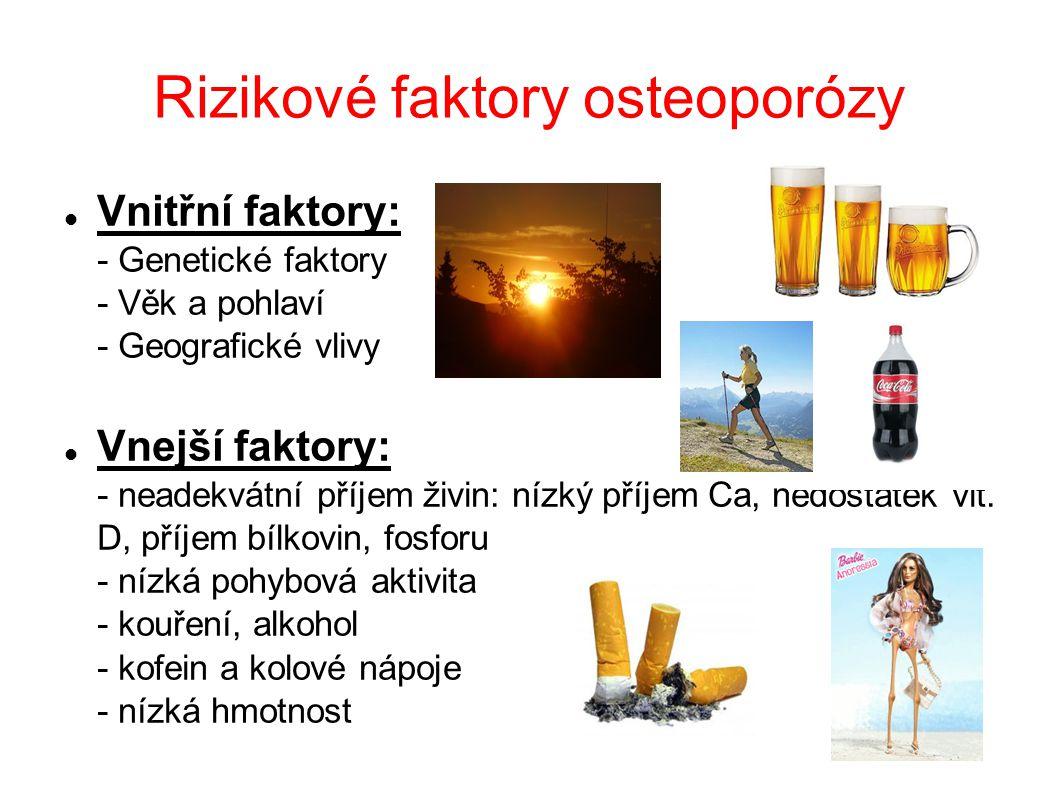 Rizikové faktory osteoporózy Vnitřní faktory: - Genetické faktory - Věk a pohlaví - Geografické vlivy Vnejší faktory: - neadekvátní příjem živin: nízk