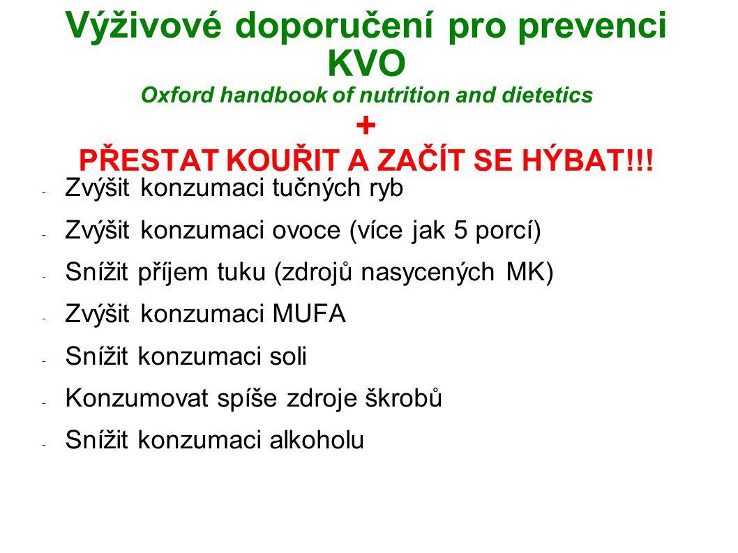 Výživové doporučení pro prevenci KVO Oxford handbook of nutrition and dietetics + PŘESTAT KOUŘIT A ZAČÍT SE HÝBAT!!.