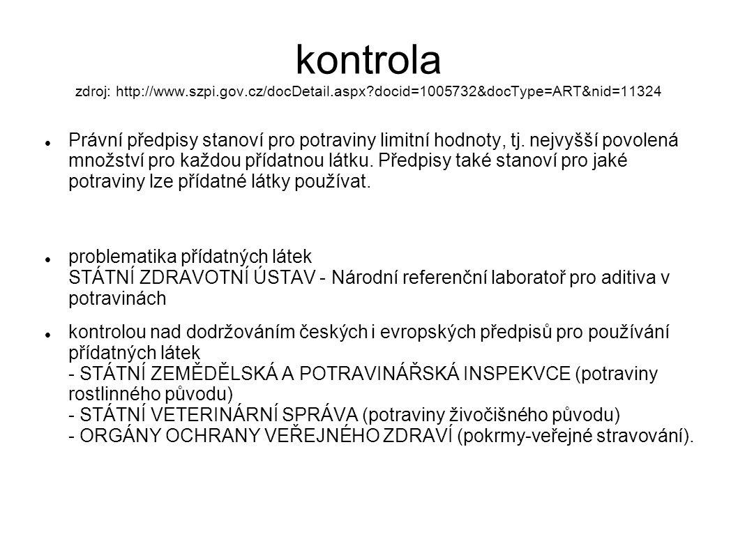 kontrola zdroj: http://www.szpi.gov.cz/docDetail.aspx?docid=1005732&docType=ART&nid=11324 Právní předpisy stanoví pro potraviny limitní hodnoty, tj. n