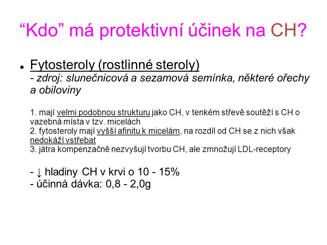 """""""Kdo"""" má protektivní účinek na CH? Fytosteroly (rostlinné steroly) - zdroj: slunečnicová a sezamová semínka, některé ořechy a obiloviny 1. mají velmi"""