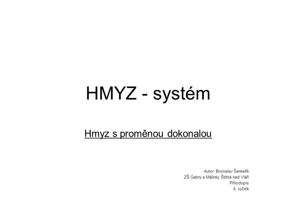 HMYZ - systém Hmyz s proměnou dokonalou Autor: Bronislav Šenkeřík ZŠ Gabry a Málinky Štítná nad Vláří Přírodopis 6. ročník