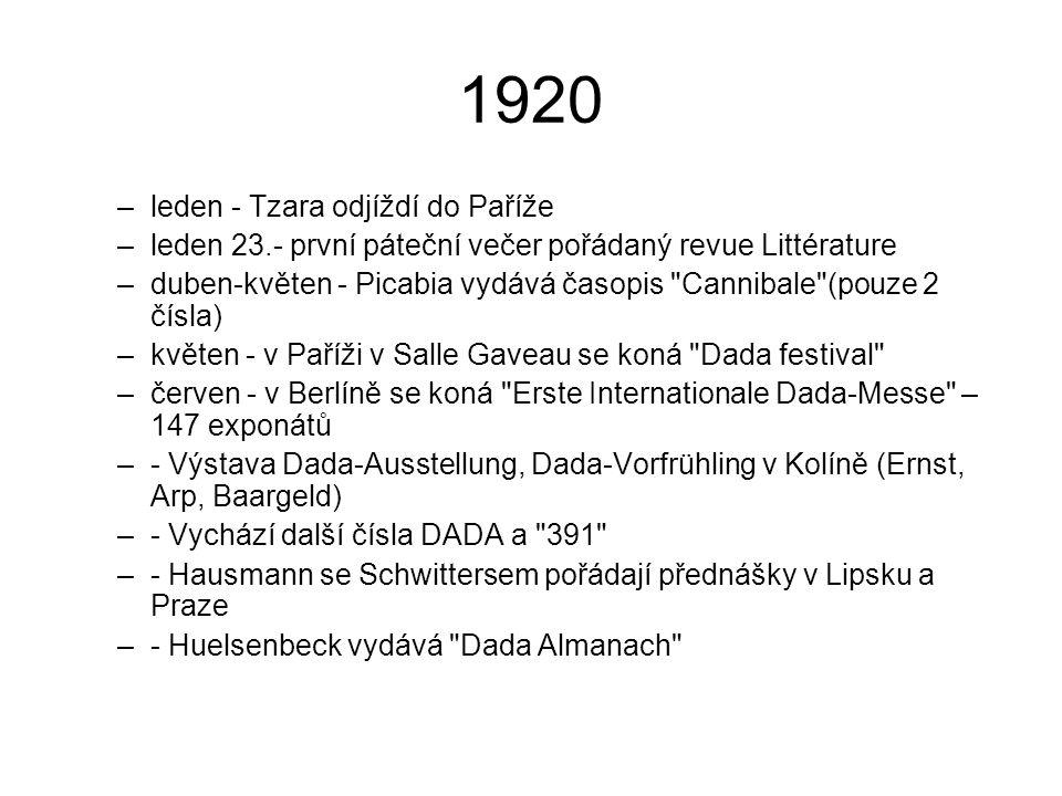 1921 –srpen - vydáno poslední (20.) číslo první série časopisu Littérature –- V Itálii vychází časopis Bleu –- Picabia a Breton vystupují z dadaistického hnutí