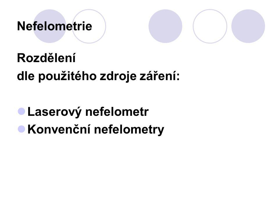 Nefelometrie Rozdělení dle použitého zdroje záření: Laserový nefelometr Konvenční nefelometry