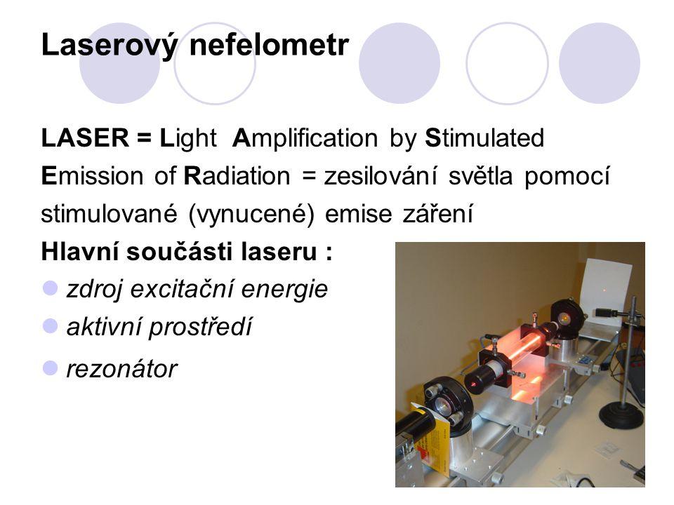 Laserový nefelometr LASER = Light Amplification by Stimulated Emission of Radiation = zesilování světla pomocí stimulované (vynucené) emise záření Hla