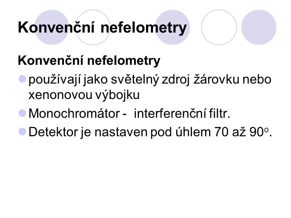 Konvenční nefelometry používají jako světelný zdroj žárovku nebo xenonovou výbojku Monochromátor - interferenční filtr. Detektor je nastaven pod úhlem