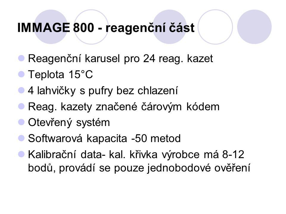 IMMAGE 800 - reagenční část Reagenční karusel pro 24 reag. kazet Teplota 15°C 4 lahvičky s pufry bez chlazení Reag. kazety značené čárovým kódem Otevř