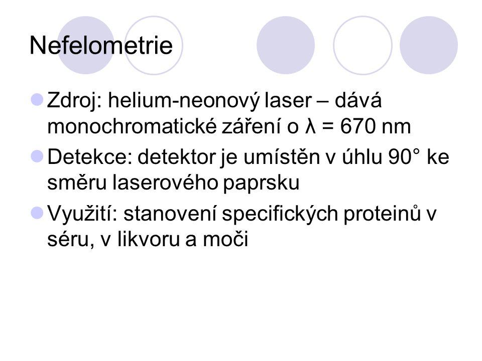 Nefelometrie Zdroj: helium-neonový laser – dává monochromatické záření o λ = 670 nm Detekce: detektor je umístěn v úhlu 90° ke směru laserového paprsk
