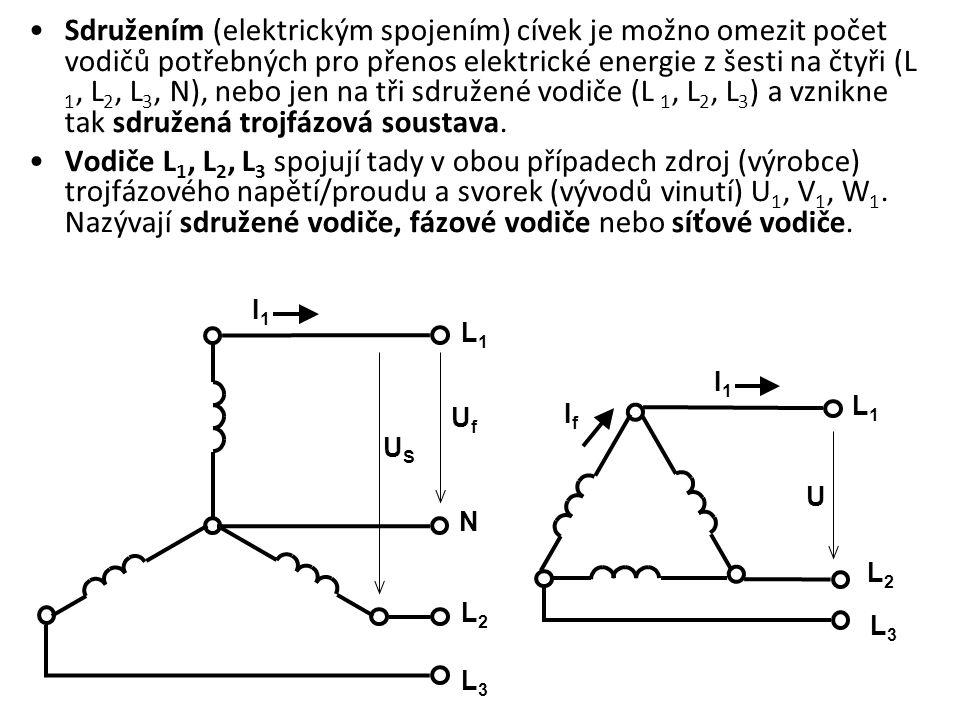 Trojfázová souměrná soustava - jednotlivé fáze mají stejnou velikost, kmitočet, ale jejich sinusovky jsou časově posunuty o 120°, tj.