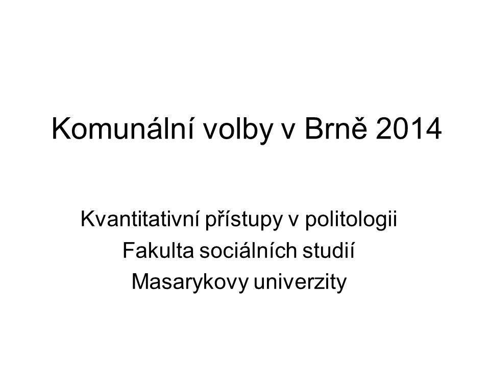Komunální volby v Brně 2014 Kvantitativní přístupy v politologii Fakulta sociálních studií Masarykovy univerzity