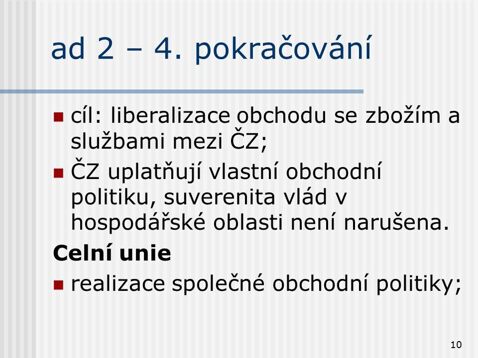 10 ad 2 – 4. pokračování cíl: liberalizace obchodu se zbožím a službami mezi ČZ; ČZ uplatňují vlastní obchodní politiku, suverenita vlád v hospodářské
