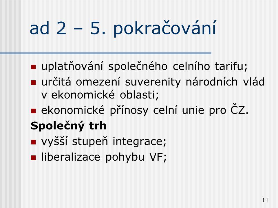 11 ad 2 – 5. pokračování uplatňování společného celního tarifu; určitá omezení suverenity národních vlád v ekonomické oblasti; ekonomické přínosy celn