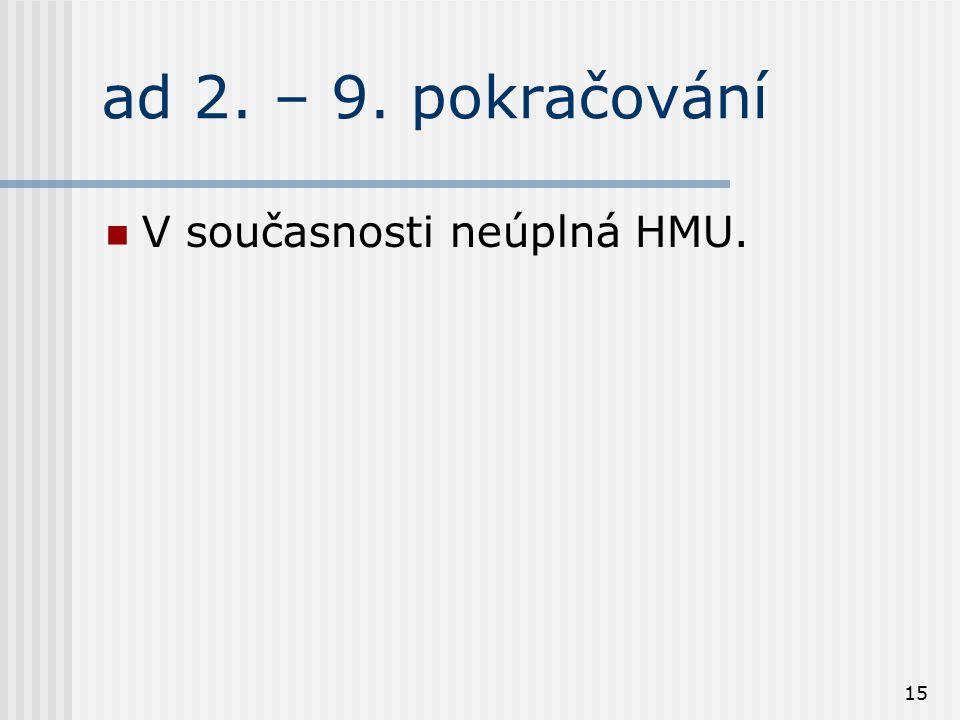 15 ad 2. – 9. pokračování V současnosti neúplná HMU.