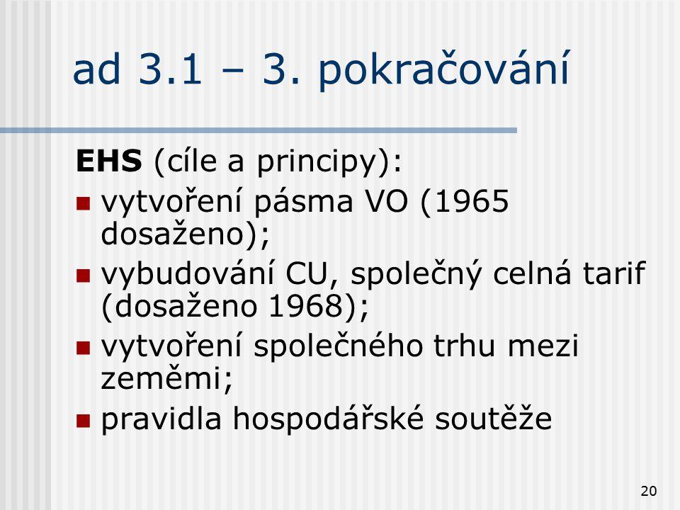 20 ad 3.1 – 3. pokračování EHS (cíle a principy): vytvoření pásma VO (1965 dosaženo); vybudování CU, společný celná tarif (dosaženo 1968); vytvoření s