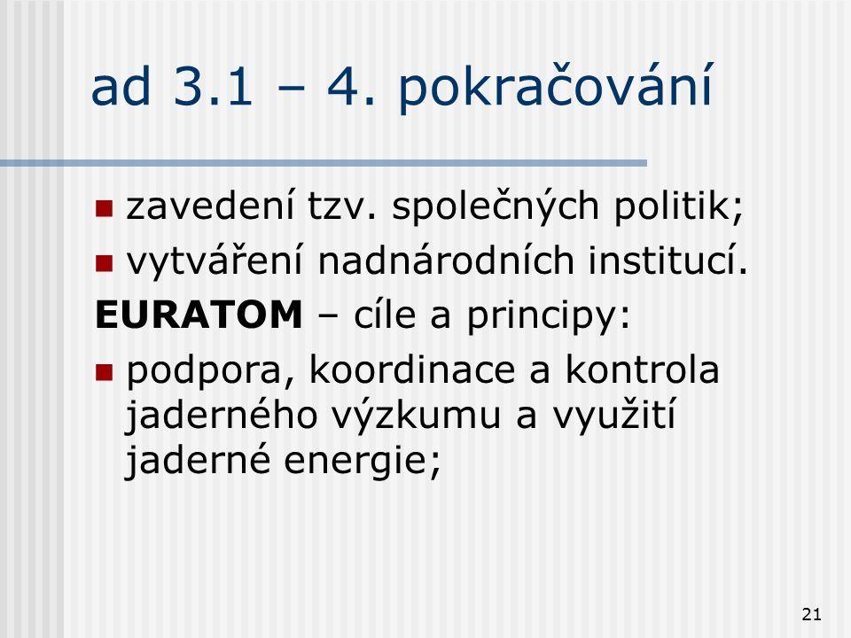 21 ad 3.1 – 4. pokračování zavedení tzv. společných politik; vytváření nadnárodních institucí. EURATOM – cíle a principy: podpora, koordinace a kontro