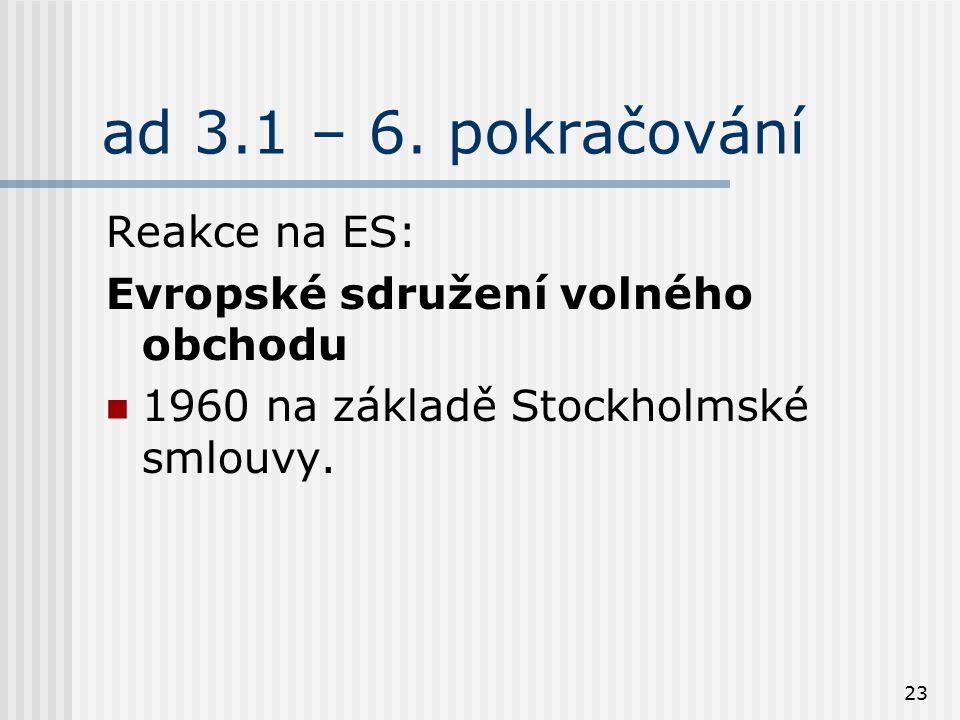23 ad 3.1 – 6. pokračování Reakce na ES: Evropské sdružení volného obchodu 1960 na základě Stockholmské smlouvy.