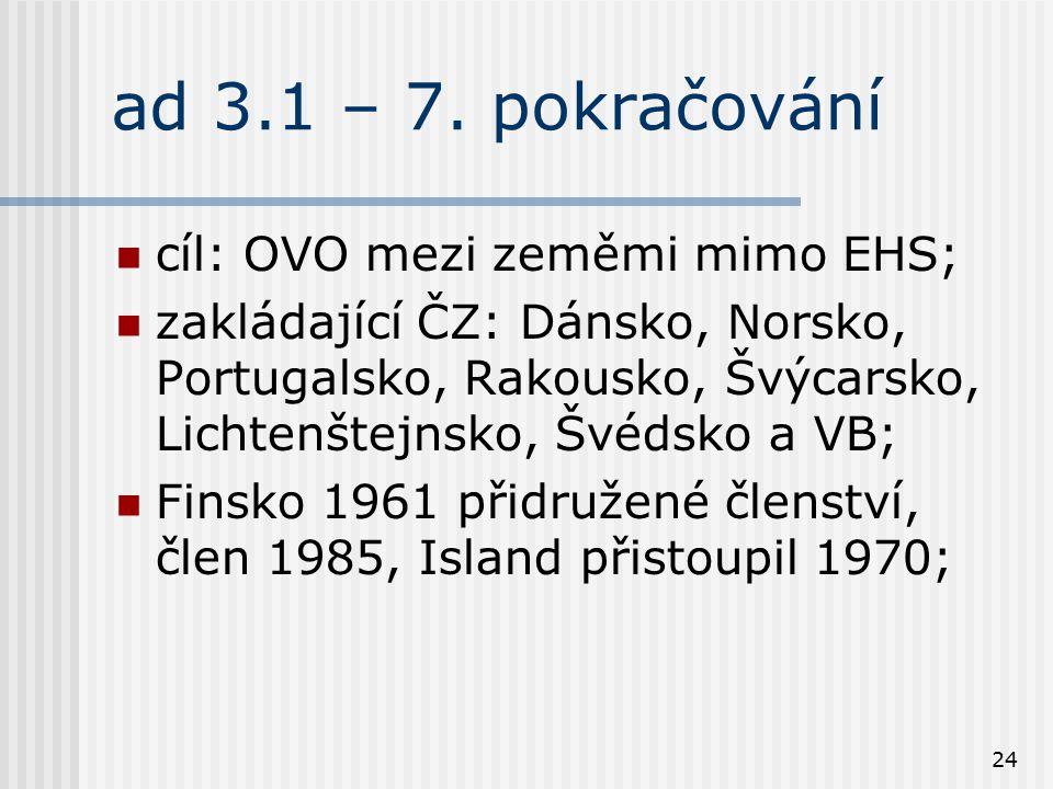 24 ad 3.1 – 7. pokračování cíl: OVO mezi zeměmi mimo EHS; zakládající ČZ: Dánsko, Norsko, Portugalsko, Rakousko, Švýcarsko, Lichtenštejnsko, Švédsko a