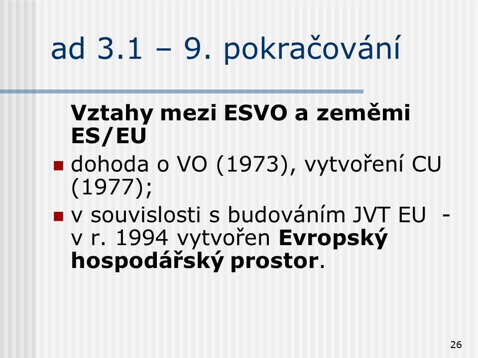 26 ad 3.1 – 9. pokračování Vztahy mezi ESVO a zeměmi ES/EU dohoda o VO (1973), vytvoření CU (1977); v souvislosti s budováním JVT EU - v r. 1994 vytvo