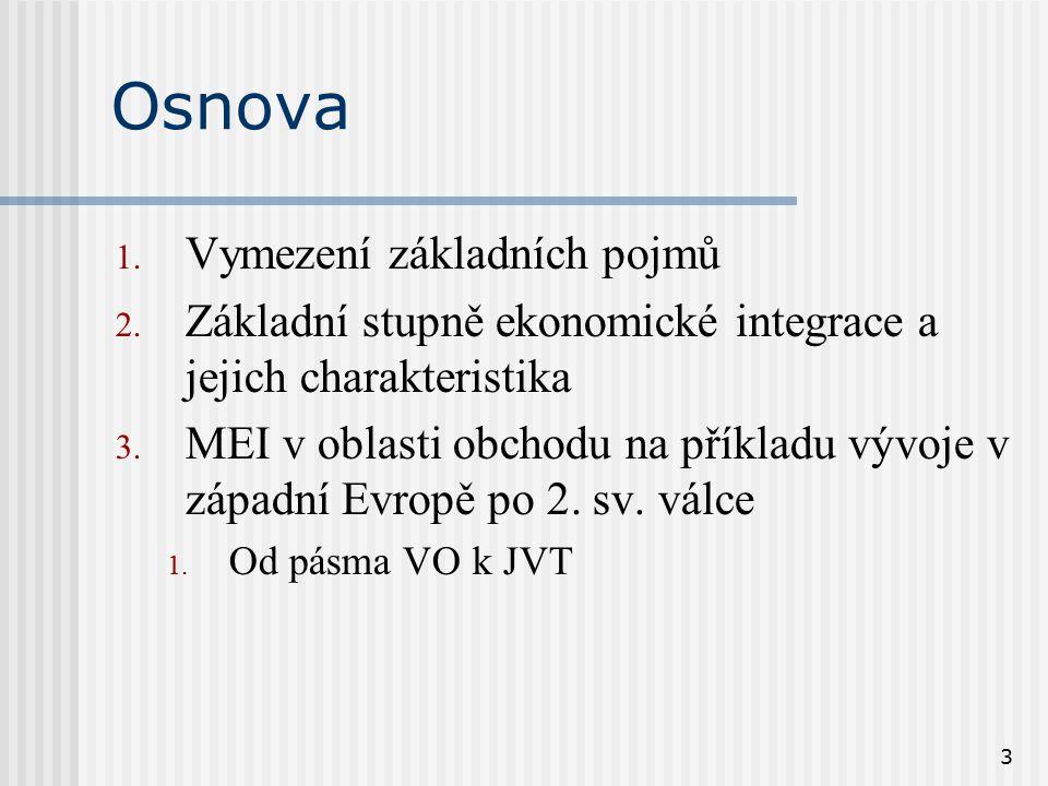 3 Osnova 1. Vymezení základních pojmů 2. Základní stupně ekonomické integrace a jejich charakteristika 3. MEI v oblasti obchodu na příkladu vývoje v z