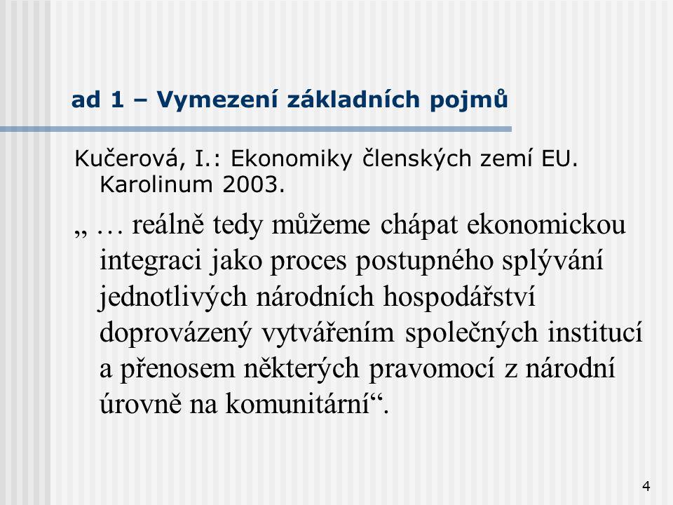 """4 ad 1 – Vymezení základních pojmů Kučerová, I.: Ekonomiky členských zemí EU. Karolinum 2003. """" … reálně tedy můžeme chápat ekonomickou integraci jako"""