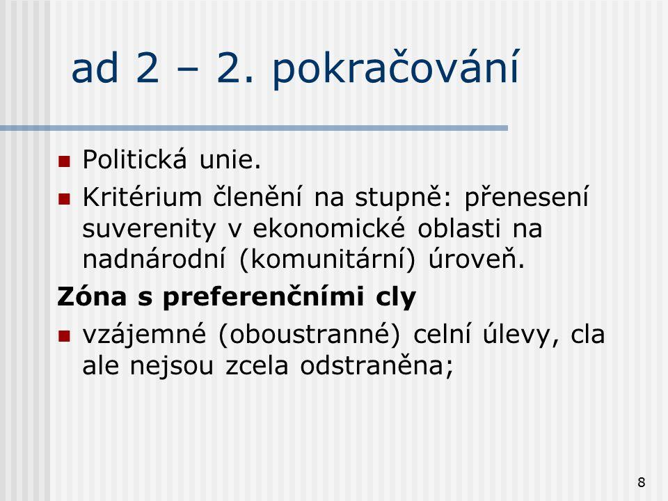 8 ad 2 – 2. pokračování Politická unie. Kritérium členění na stupně: přenesení suverenity v ekonomické oblasti na nadnárodní (komunitární) úroveň. Zón