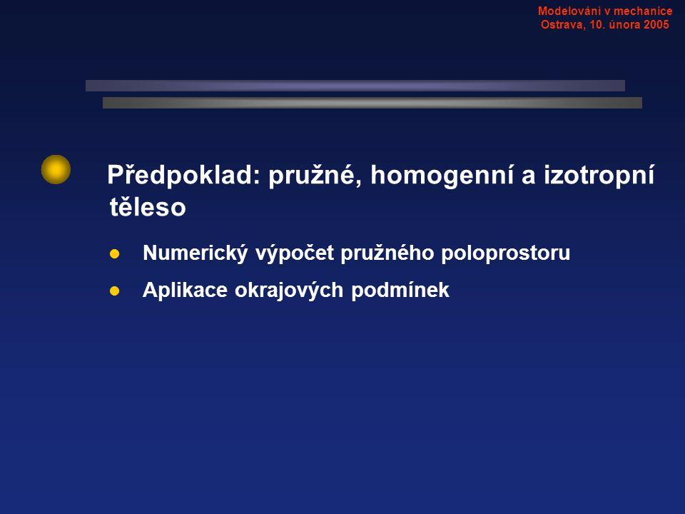 Modelování v mechanice Ostrava, 10. února 2005 Numerický výpočet pružného poloprostoru Aplikace okrajových podmínek Předpoklad: pružné, homogenní a iz