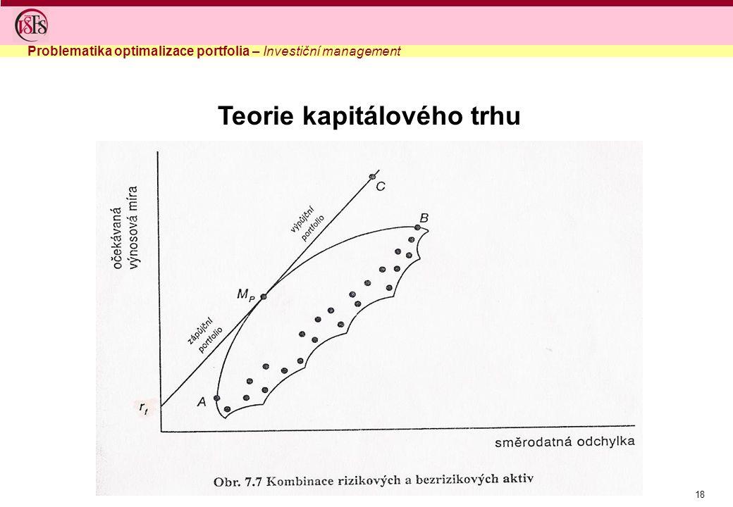 18 Problematika optimalizace portfolia – Investiční management Teorie kapitálového trhu