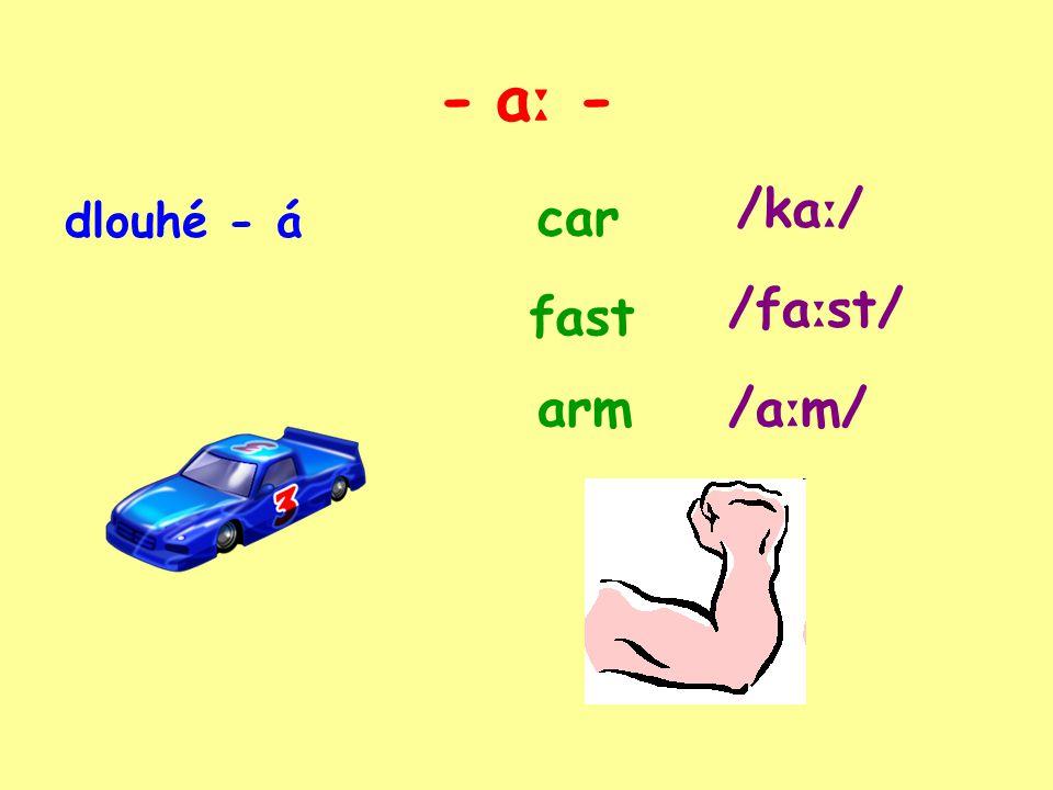 - a ː - dlouhé - á car fast arm /ka ː / /fa ː st/ /a ː m/