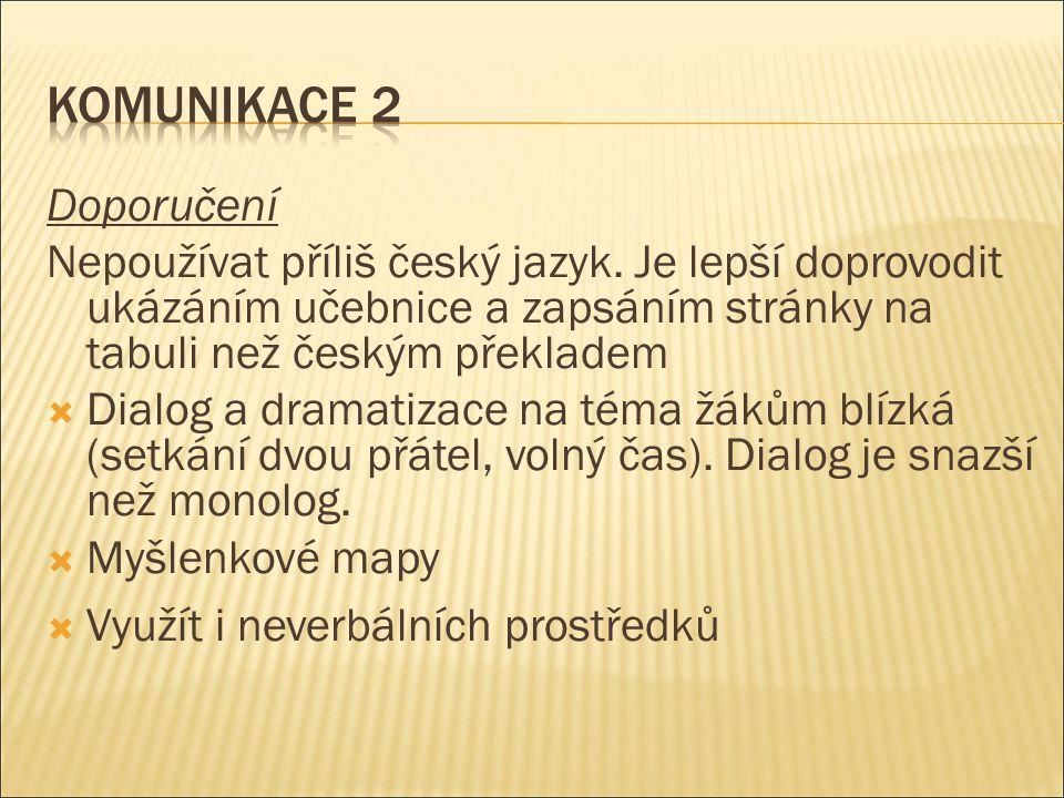 Doporučení Nepoužívat příliš český jazyk. Je lepší doprovodit ukázáním učebnice a zapsáním stránky na tabuli než českým překladem  Dialog a dramatiza