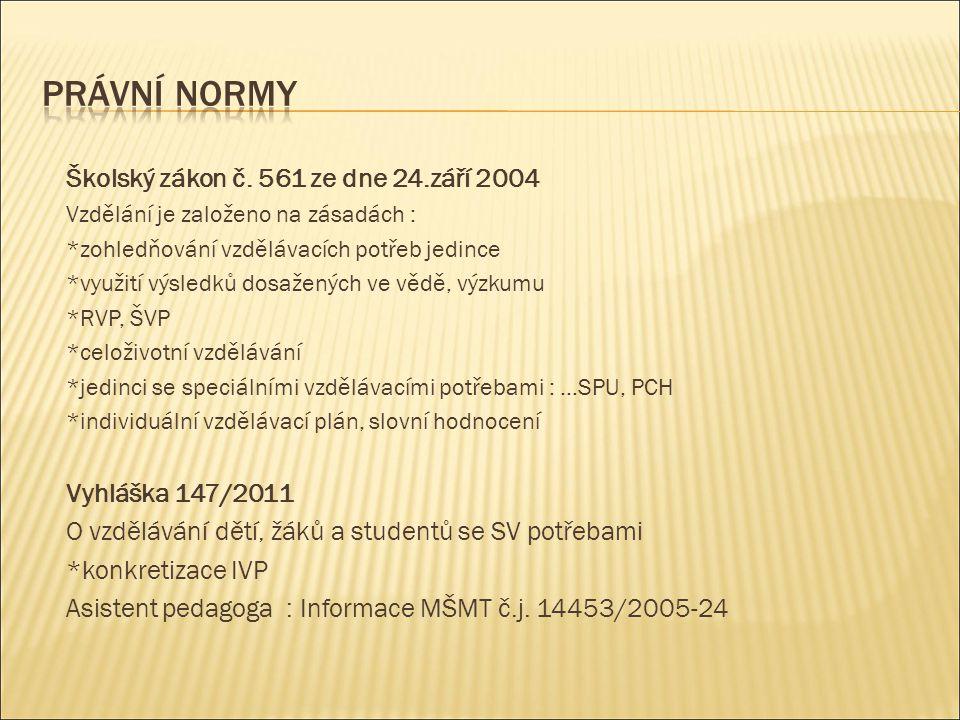 Školský zákon č. 561 ze dne 24.září 2004 Vzdělání je založeno na zásadách : *zohledňování vzdělávacích potřeb jedince *využití výsledků dosažených ve