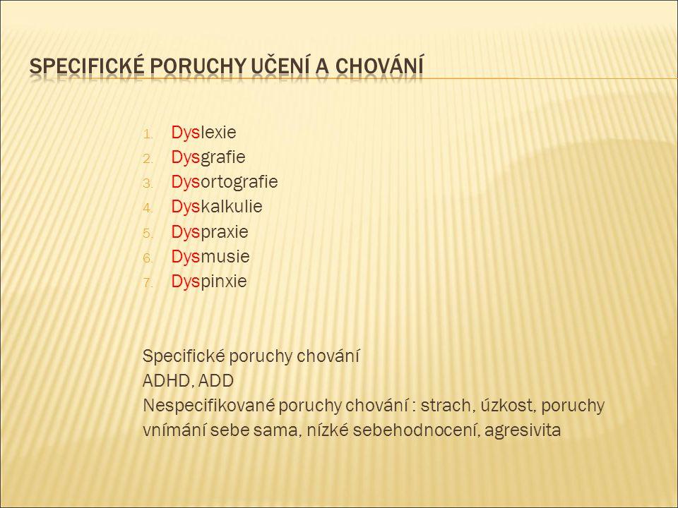 1. Dyslexie 2. Dysgrafie 3. Dysortografie 4. Dyskalkulie 5. Dyspraxie 6. Dysmusie 7. Dyspinxie Specifické poruchy chování ADHD, ADD Nespecifikované po