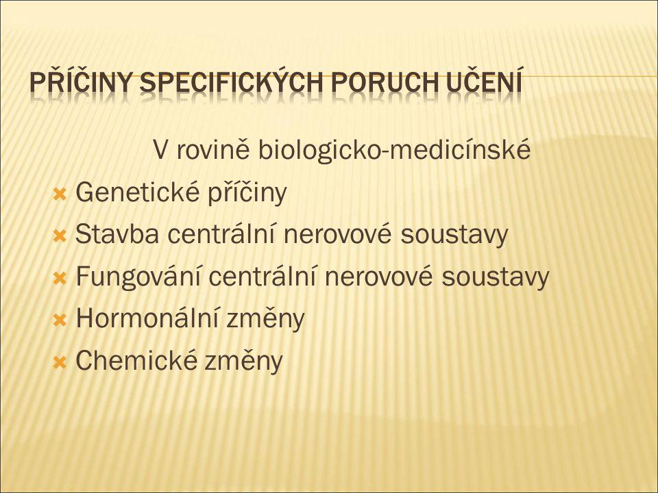 V rovině biologicko-medicínské  Genetické příčiny  Stavba centrální nerovové soustavy  Fungování centrální nerovové soustavy  Hormonální změny  C