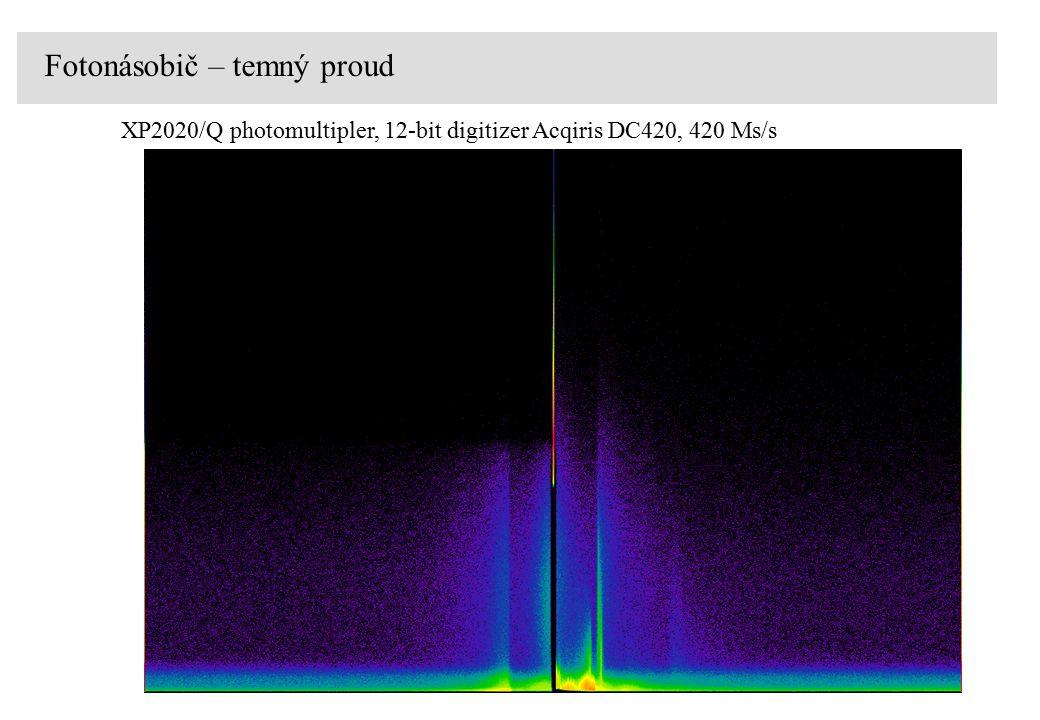 XP2020/Q photomultipler, 12-bit digitizer Acqiris DC420, 420 Ms/s Fotonásobič – temný proud