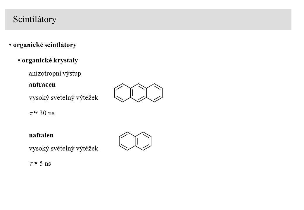 Scintilátory organické scintlátory organické kapaliny p-Terpenyl C18H14, di-fenyloxadiazol C 20 H 14 N 2 O   3-4 ns organický scintilátor rozpuštěný v organickém rozpuštědle (xylen, toluen, benzen) PILOT U, světelný výtěžek 40-45%,  = 0.4-0.6 ns, max = 390 nm NE102A, světelný výtěžek 65%,  = 2.4 ns, max = 418 nm plastické scintilátory   1-3 ns organický scintilátor rozpuštěný v pevném polymeru (PS, PC)