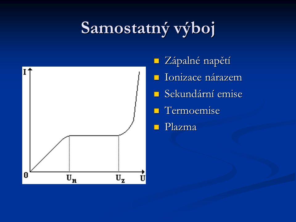Samostatný výboj Zápalné napětí Ionizace nárazem Sekundární emise Termoemise Plazma
