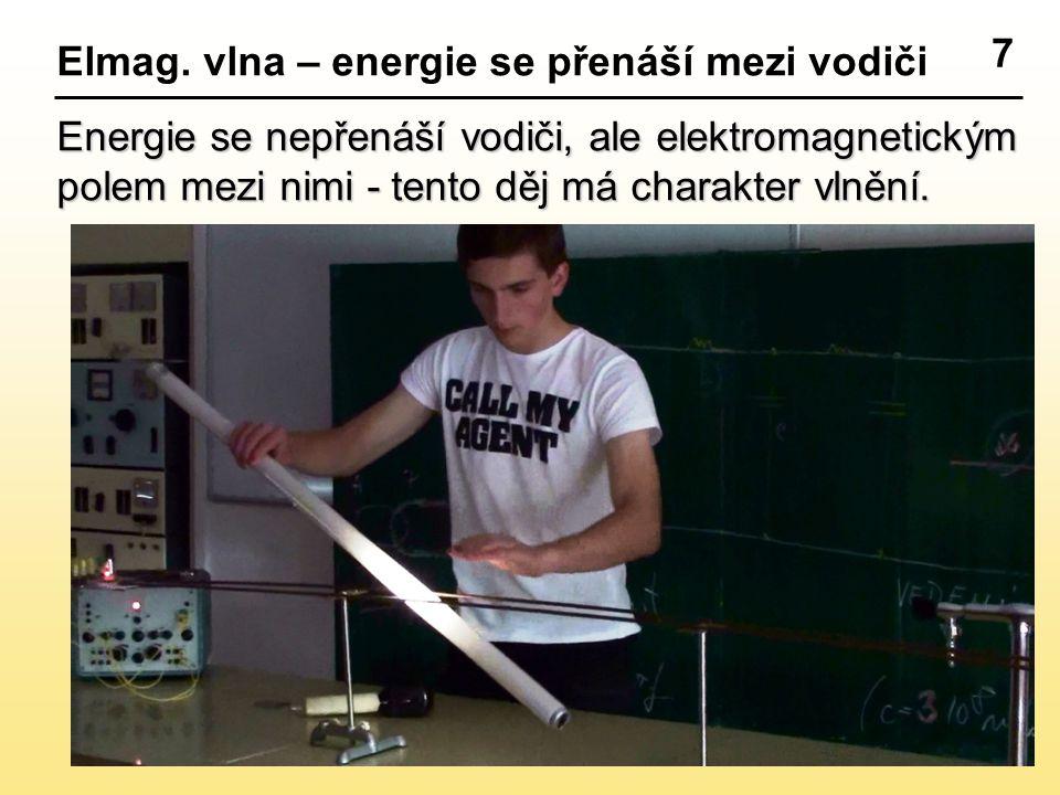 7 Elmag. vlna – energie se přenáší mezi vodiči Energie se nepřenáší vodiči, ale elektromagnetickým polem mezi nimi - tento děj má charakter vlnění.