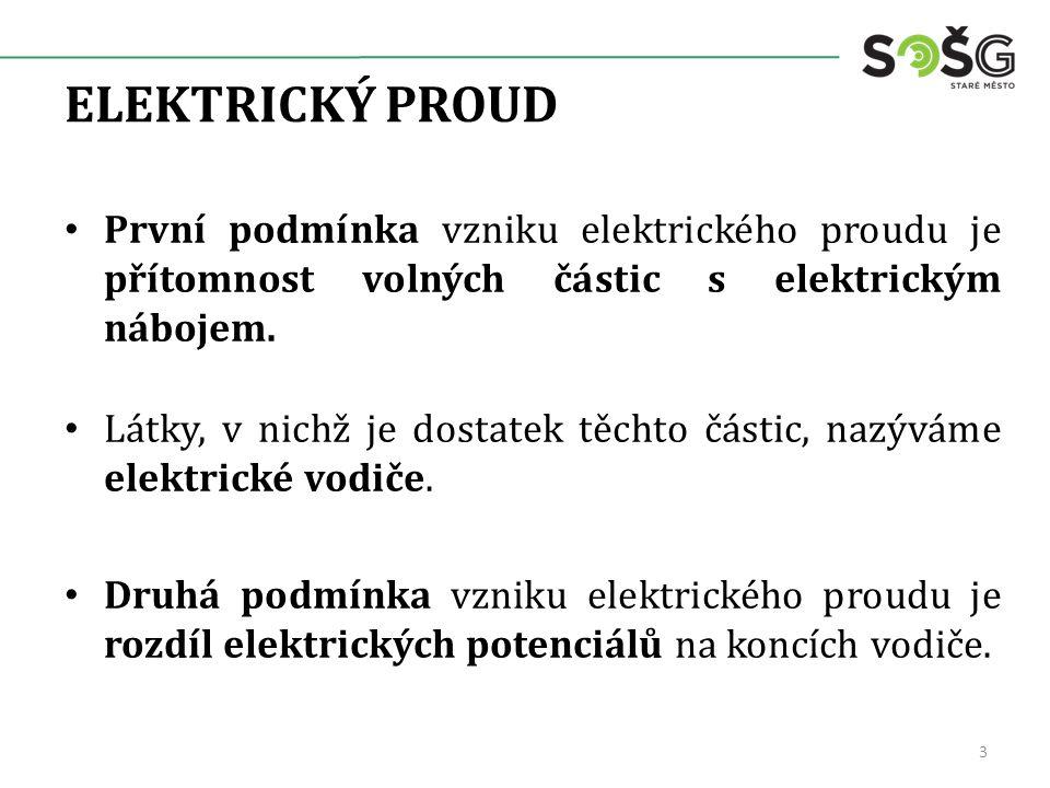 ELEKTRICKÝ PROUD První podmínka vzniku elektrického proudu je přítomnost volných částic s elektrickým nábojem. Látky, v nichž je dostatek těchto části