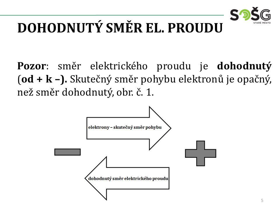 DOHODNUTÝ SMĚR EL. PROUDU Pozor: směr elektrického proudu je dohodnutý (od + k –). Skutečný směr pohybu elektronů je opačný, než směr dohodnutý, obr.