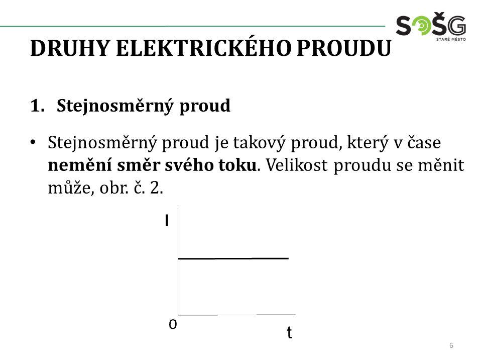 DRUHY ELEKTRICKÉHO PROUDU 2.Střídavý proud Střídavý proud je proud, jehož velikost a směr se v čase mění s určitou periodou, přičemž jeho střední hodnota je nulová, obr.