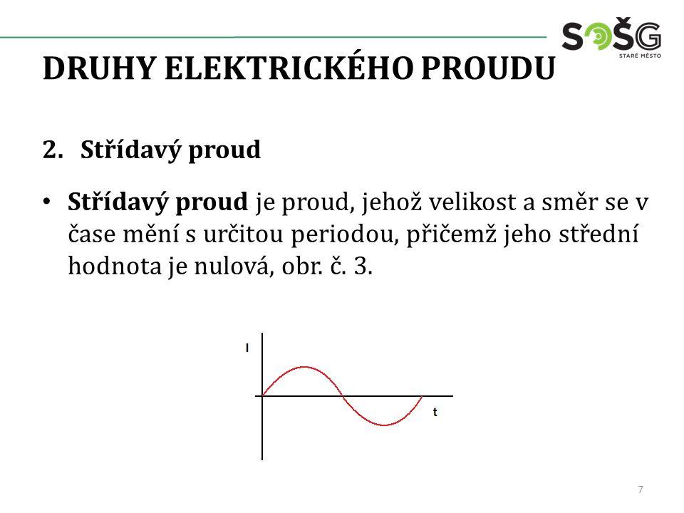 DRUHY ELEKTRICKÉHO PROUDU 2.Střídavý proud Střídavý proud je proud, jehož velikost a směr se v čase mění s určitou periodou, přičemž jeho střední hodn