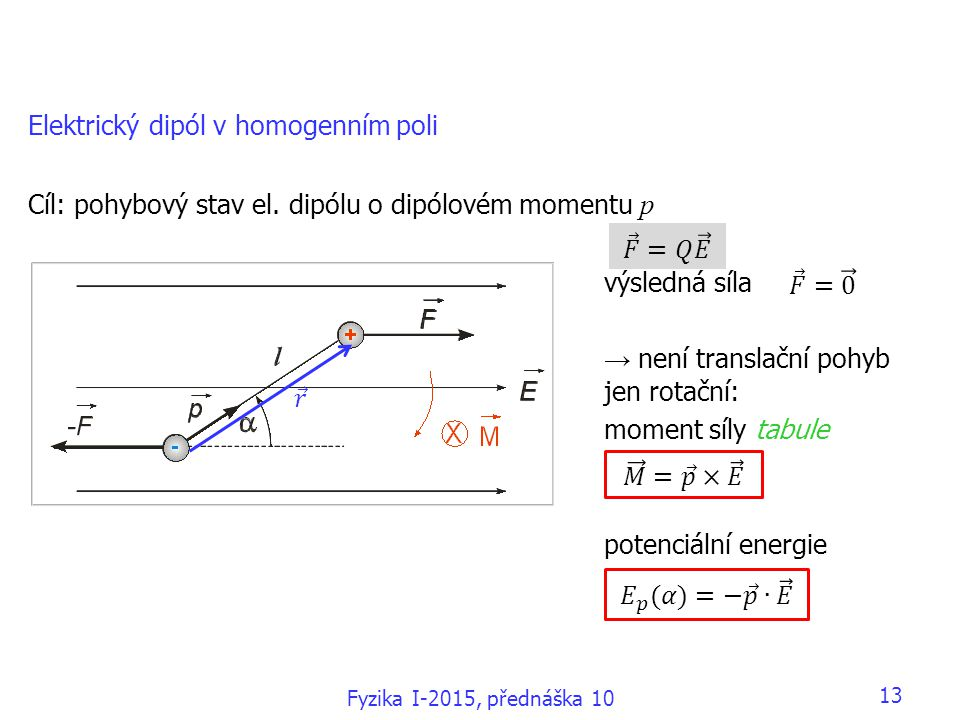 13 Elektrický dipól v homogenním poli Cíl: pohybový stav el.
