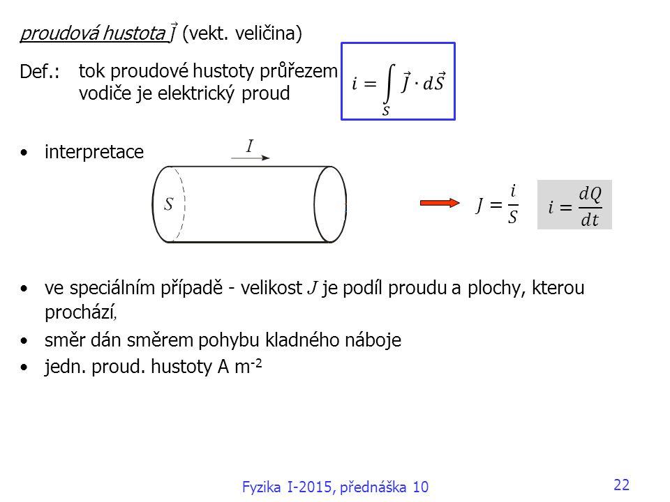 22 tok proudové hustoty průřezem vodiče je elektrický proud Fyzika I-2015, přednáška 10