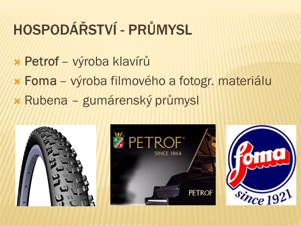 HOSPODÁŘSTVÍ - PRŮMYSL  Petrof – výroba klavírů  Foma – výroba filmového a fotogr. materiálu  Rubena – gumárenský průmysl