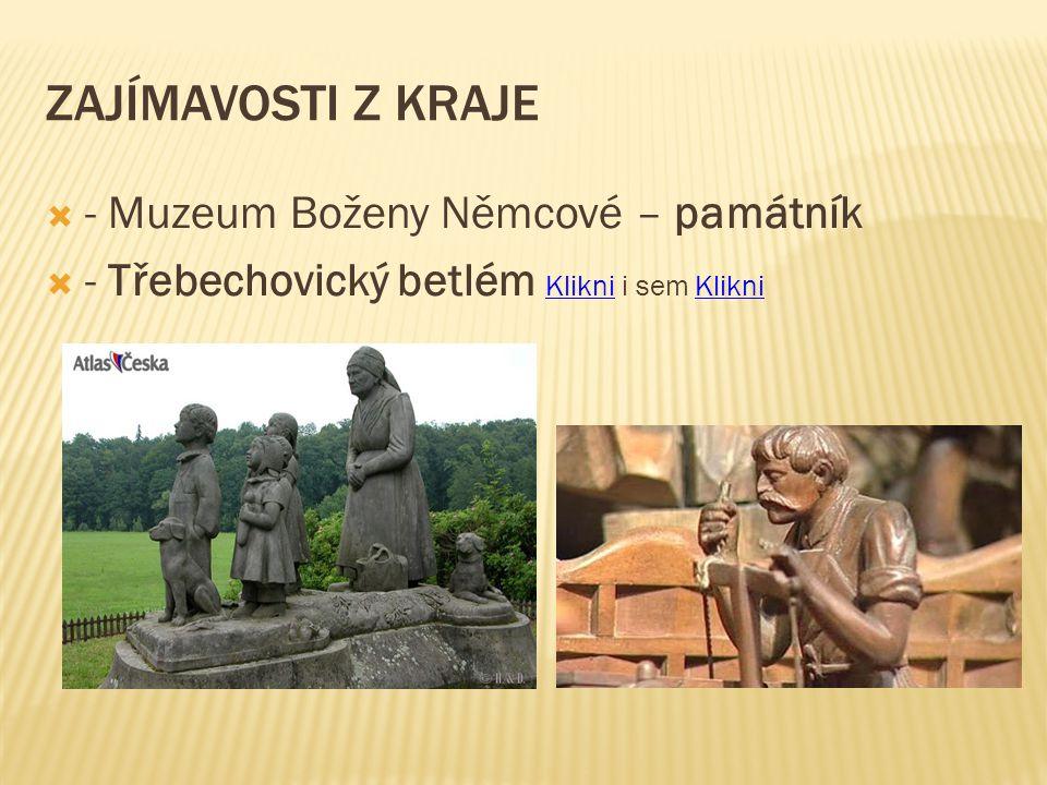 ZAJÍMAVOSTI Z KRAJE  - Muzeum Boženy Němcové – památník  - Třebechovický betlém Klikni i sem Klikni Klikni
