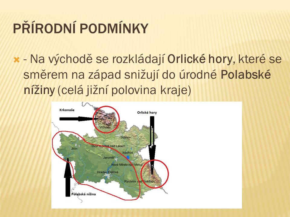 PŘÍRODNÍ PODMÍNKY  - Na východě se rozkládají Orlické hory, které se směrem na západ snižují do úrodné Polabské nížiny (celá jižní polovina kraje)