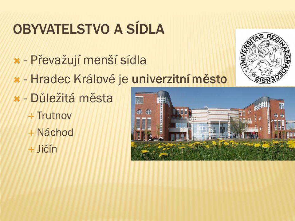 OBYVATELSTVO A SÍDLA  - Převažují menší sídla  - Hradec Králové je univerzitní město  - Důležitá města  Trutnov  Náchod  Jičín